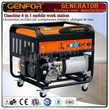 ガソリン4 in 1モバイルワークステーション発電機、溶接機、エアコンプレッサー、バッテリーチャージャー