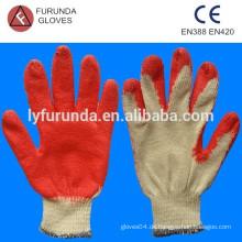 10 Gauge Poly Baumwolle gefüttert gestrickte Arbeitshandschuhe mit roter Latexpalme beschichtet