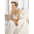 A-line Sweetheart Cathedral Train Satin Beading Wedding Dress pembekal