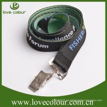 Artículos promocionales tejidos baratos cordones clip de cocodrilo con logotipo personalizado