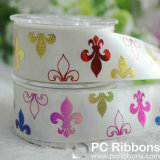 Custom Printed Zebra Fleur De Lis Puff Foil Printed Ribbon