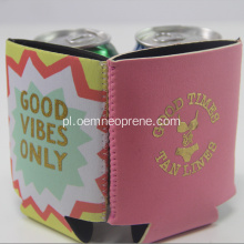 Kolor różowy z nadrukiem Gold Neoprene Can Cooler
