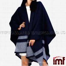 Verificado Merino Wool Cape, reversível Merino Wool Cape