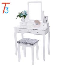 Juego de tocador con espejo y taburete acolchado Maquillaje en la mesa 5 gavetas 2 divisores Organizadores móviles Blanco