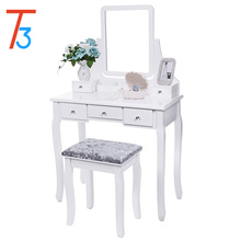Vanity Set with Mirror & Cushioned Stool Dressing Table Makeup 5 Drawers 2 Dividers Movable Organizers White