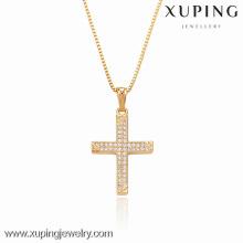 32292 Xuping branco zircão cor em forma de cruz pingente para presentes de Natal
