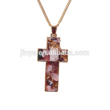 Unique Bohemian Style Golden Druzy Cross Necklace, Cross Pendant Necklace