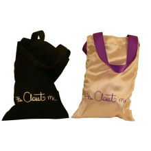 Closet Satin Bag, Fabric Carrier Bags Printed With Ribbon Handle 18 * 23 Mm
