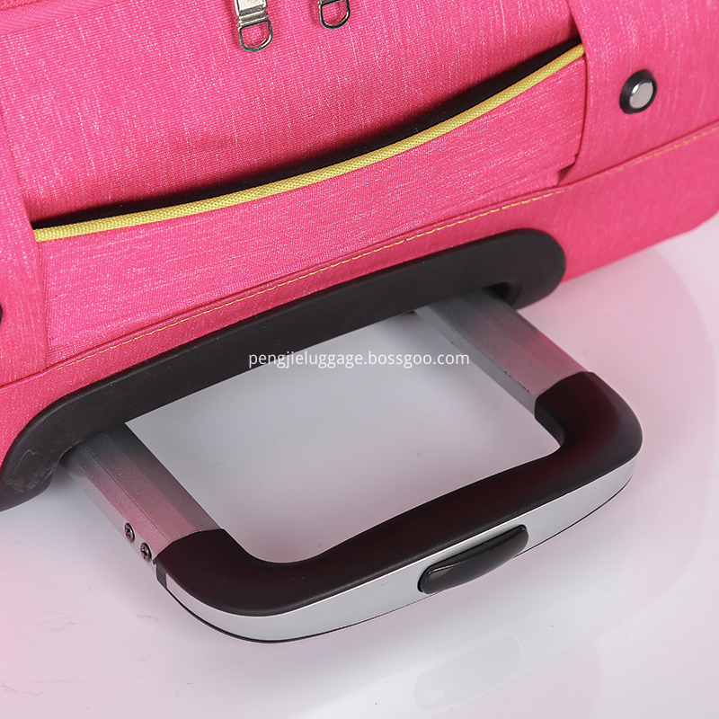 Pink woman soft polyester trolley luggage4