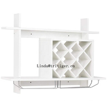 New design wall mounting wood wine display rack bottle holder