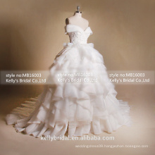 MB16003 Big Long Train Second Marriage Wedding Dresses Ruffle Romantic Wedding Dresses Tulle Gown For Bridal Dresses