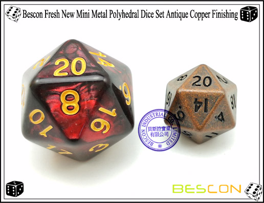 Bescon Fresh New Mini Metal Polyhedral Dice Set Antique Copper Finishing-2