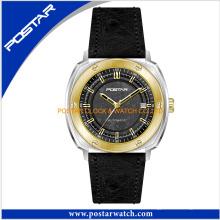 Relógio de quartzo estilo simples para homens com pulseira de couro genuíno