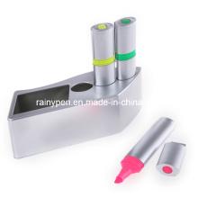 Caneta de marca-texto de 3 cores em uma caixa de plástico (BF39)