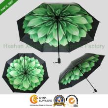 Nouveaux éléments personnalisés imprimés fleuris UV 3 pli, parapluie (FU - 3821C)