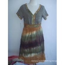 Womens Casual Summer Dresses Cotton Short Sleeve Dress