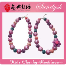 Hermana Jewelry Purple Bead Flower Hecho a mano Girls Bubblegum Chunky Necklace