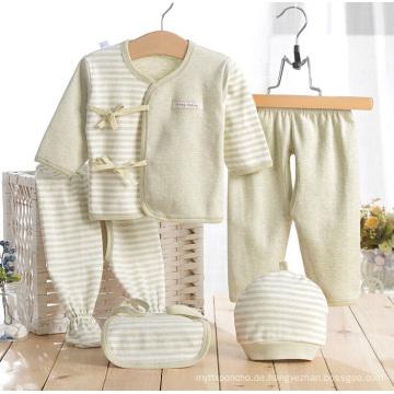 Farbige Baumwollgrün-Streifen Neugeborene Baby-innere Kleidung 5PCS