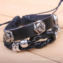 Trendy RnB Herren Cherry Brown Hoops Leder Stulpe Armband KSQN-11