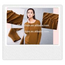 Sutiã de malha de malha de cabo suéter de manga comprida suéter de bolso para mulher