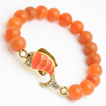 Red Aventurine Gemstone Bracelet with Diamante alloy Fish Piece