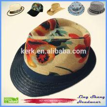 Algodón de la pintura al óleo del sombrero de la manera con el sombrero de Fedora de la cuerda de papel