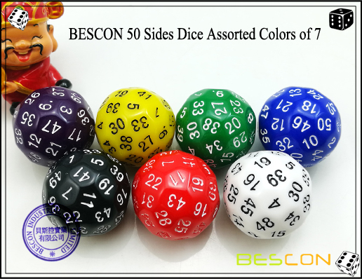 BESCON 50 Sides Dice Assorted Colors of 7