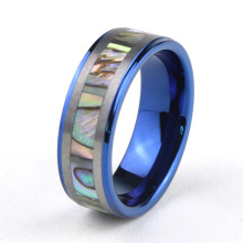 Blue Tungsten Wedding Ring met Abalone Shell Inlay