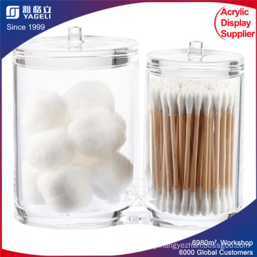 Acrylic Cotton Swabs Organizer Makeup Cosmetic Storage Holder Powder Box