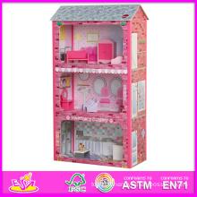 2014 nouveau jouet en bois mignon de maison de poupée, jouet de maison de poupée populaire de beaux enfants, vente chaude jouet en bois de maison de poupée en bois de couleur rose W06A045