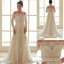 off-shoulder lace chiffon handmade flower wedding dress gown from kelly bridal in zhong shan