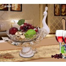 Decoración de casa de Navidad piezas de resina plato de pavo real tazón de frutas decorativas para sala de estar
