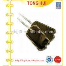 Gold blank logo etiqueta de cão colar jóia de imitação de metal