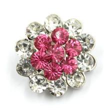 Bouton à pression en métal et en alliage de métal avec diamant en cristal