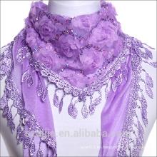 Nueva bufanda triangular de la carpeta del cordón de Paillette de la manera / mantón