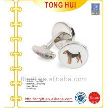 Gemelos personalizados de metal de foto de perro para acabado niquelado