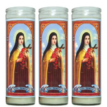 7 day religious church candles in glass jar