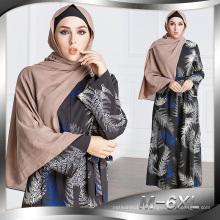 moda nueva modelo mujeres musulmanas vestido elegante negro impreso floral abaya egipto