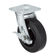 Heavy Duty Caster Series- 8in. W/Side Brake - Rubber Wheel