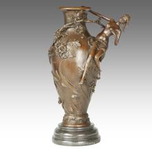 Florero Talla Estatua Flor Señora Decoración Bronce Escultura TPE-668/669