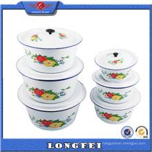 14-28 Cm Weiße Farbe Enamel Waschen Schüssel mit Deckel