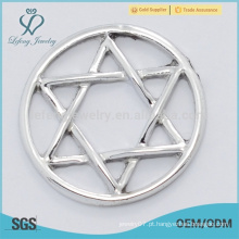 China preço de fábrica placas de liga de zinco puro, forma de estrela placas de vidro de vidro claro fit fot 30 milímetros lockets