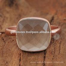 925 Sterling Silber Rose vergoldet Lünette Ringe, natürliche grau Chalcedon Edelstein Lünette Ring Schmuck Hersteller