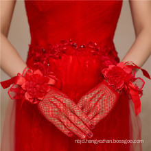 Fishnet red lace appliques high quality bridal wedding lace gloves