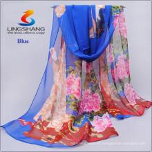 La bufanda suave caliente del abrigo de la bufanda de la gasa de la impresión de las mujeres atractivas de Lingshang robó la bufanda del cuello del abrigo de la máscara de la gasa
