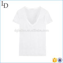 Precio barato al por mayor de la camiseta cómoda del cuello en v de la camiseta de algodón