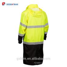 Inferior de diseño negro Hi Vis Safety Workwear Con capucha de largo impermeable, 150D poliéster Oxford con revestimiento de PU y costuras selladas