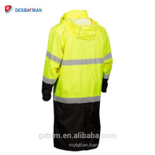Black Lower Design Hi Vis Safety Workwear Hoodie Long Raincoat,150D Polyester Oxford With PU Coating And Sealed Seams