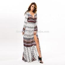 2017 мода с длинным рукавом Богема сексуальный вечерние платья