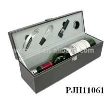 caja de vino de cuero de lujo portátil botella caliente venta